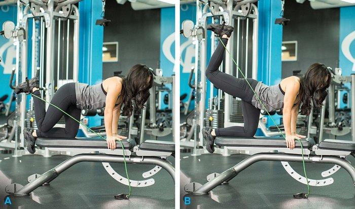 exercice fessier avec elastic